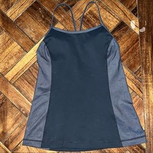Under Armour gray & black fitted tank top medium